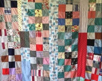 Retro STRIP BLOCK Vintage Quilt TOP - Mid Century Fabrics