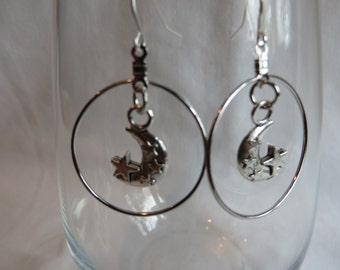 Moon and Stars Dangle Earrings, earings, moon, stars, dangle, hoops