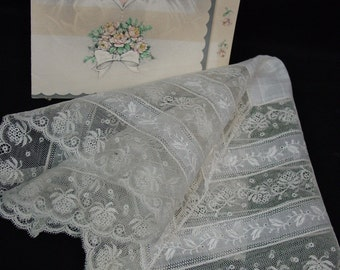 "Antique,Vintage Hanky,Handkerchief, Bridal,Wedding Gorgeous Rows of Lace  12 1/2"", Pristine"
