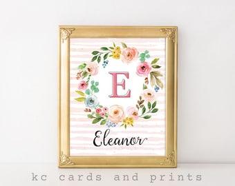 Nursery Wall Art, Eleanor, Personalized Nursery Art, Floral Nursery, Girl Nursery Decor, Nursery Name Sign, Printable, Digital Print