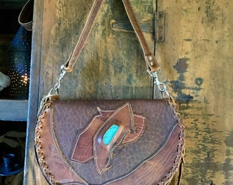 Rustic Bison Saddlebag /hippy purse/crossbody bag