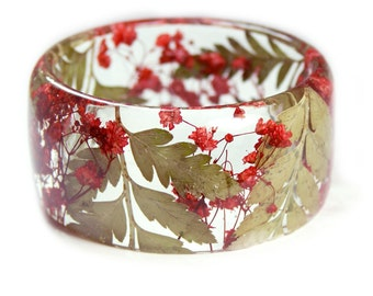 Red and Green Bracelet- Fern Bangle- Red Flower Jewelry-  Bracelet- Resin Jewelry- Flower Resin Jewelry- Flower Bangle- Red Resin Bracelet