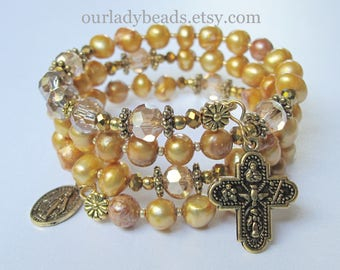 Fresh Water Pearls Gold Wrap Rosary Bracelet,Rosary,Bridal,Wedding,Confirmation Gift,Catholic Jewelry,Mother's Day,First Communion,#582