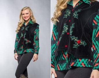 Vintage Red & Green Christmas Blouse and Velour Velvet Vest | 1970s 80s Ugly Christmas Sweater Alternative | Size L 7CJ