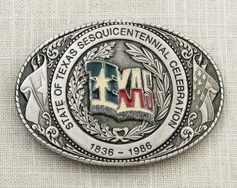 State of Texas Sesquicentennial Celebration Vintage Belt Buckle 1836-1986 Official Commemorative Licensed 1985 Texoma Leather and Brass 7F