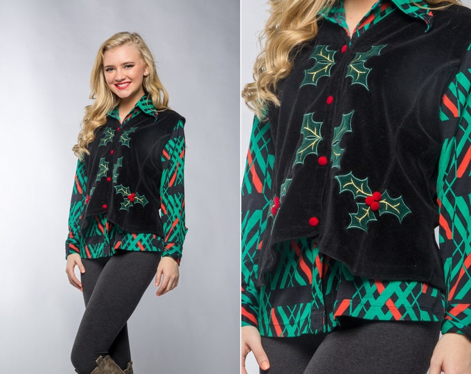 Vintage Red & Green Christmas Blouse and Velour Velvet Vest | 1970s 80s Ugly Christmas Sweater Alternative | Size L 7CJ