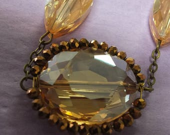 Wedding necklace pale amber colored stones