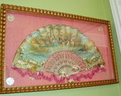 Antique Framed Ladies FAN Ornate Carved Pearl Sticks Gold kt Handpainted Ladies Gent Rose Silk