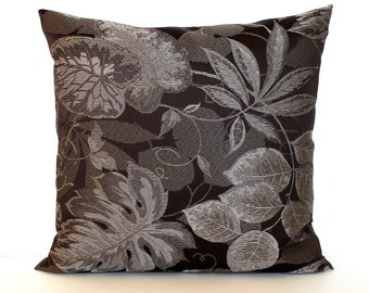 Brown Pillow Cover Floral Upholstery Fabric Pillow Cover Decorative Pillow Grey Beige Throw Pillow Cover 20x20 18x18 16x16
