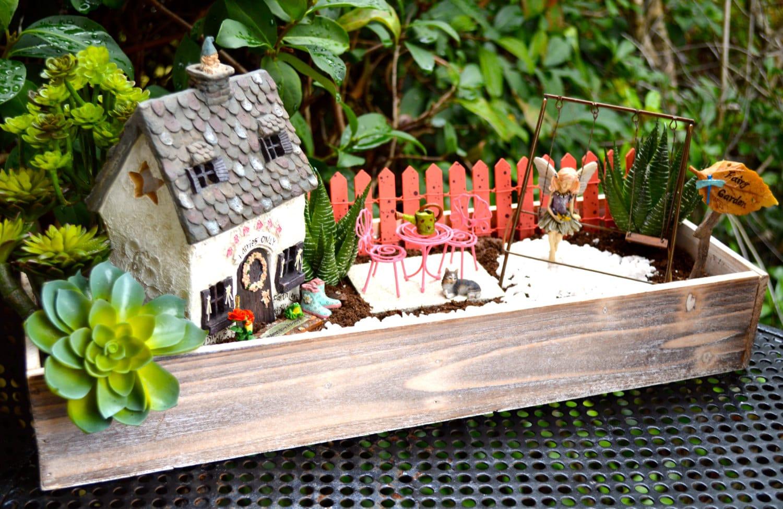 Fairy Garden Kit Cottage Planter Herb Garden Kit Wood