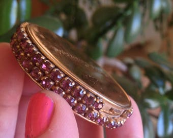 Compact Hattie Carnegie Signed ewels Pronged Amethyst Purple Glass Rhinestones Small Collectible Book Piece Collector Vintage Pretty Petite