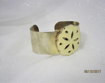 Vintage Cuff Bracelet Brass over Chrome Sand Dollar Centerpiece Wide Cuff Bracelet Vintage Cuff Bracelet with Sand Dollar Decoration