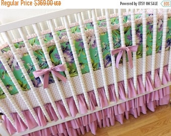 CRIB BEDDING SALE- Girl Baby Bedding- Floral Crib Bedding- Bliss Bouquet Made to Order-Crib Bedding Set-