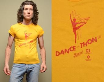 vintage crop shirt 80s Dance-A-Thon YMCA crop top aerobics dance workout wear 1980 1985 Reebok crop t-shirt cap sleeve S Atlanta