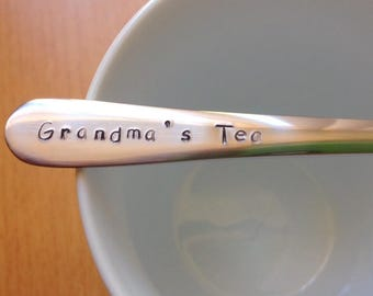 Grandma Gift,Grandmother,Grandmas Tea,Nana,Grannie,Granny,Grandma,Present,Grandmother gift, Birthday,Gift For HerHand Stamped Teaspoon