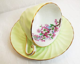 Vintage Aynsley Green Swirl, Apple or Cherry Blossom Tea Cup & Saucer Set, Pattern 7781