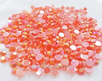 200pcs - 4mm Red AB Jelly Flatback Rhinestones AJ30004