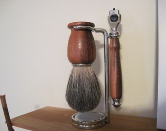 Shaving Set Hand turned Goncalo Alves Wood, Badger Hair Shaving Brush, Mach 3 Razor Handle and Shaving Stand