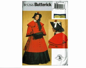Historical Cloak Skirt Muff and Bonnet Uncut OOP Sewing Pattern Sizes 8 10 12 14 or 16 18 20 22 Bust 31 1/2-42 Making History Butterick 5266