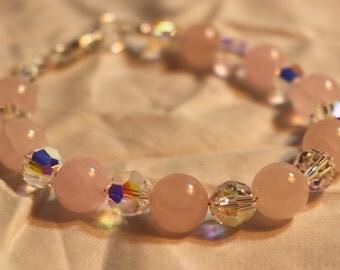 Rose quartz and Swarovski Crystal Bracelet