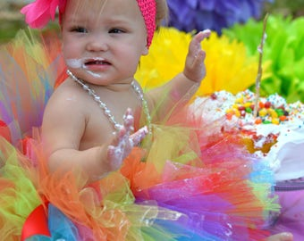 "Tutus ""Lillix Denise"" Rainbow Tutu, Newborn Tutu, Baby Tutu, Tutus for children, Flower Girl tutu, 1st birthday tutus, birthday tutu"