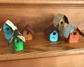 Set of Three of Handmade Mini Birdhouses .  Old Wood & Spindle Bases/Vintage Ceiling Tile Roofs . Decorative Accents . Vintage Decor