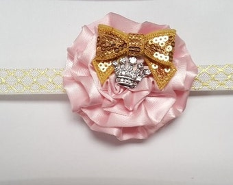 Pink Ruffle Flower Gold Vinatge Crystal Sequin Accent Glitter Headband Preemie Newborn Infant Toddler Child Adult Headband Photo Prop