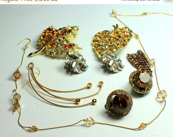 CYBER WEEK SALE Shades of Orange and Brown Vintage and Salvaged Colorful Rhinestone Jewelry Parts and Pieces for Repurposing