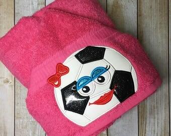 "Soccer Ball Girl Hooded Bath Towel 27"" x 52"""
