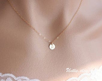 Initial necklace 14k gold filled engraved disc necklace - personalized monogrammed discs necklace, birthday mothers day gift for mom sister