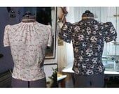 1940s blouse 40s style round neck blouse made to order in any print or plain colour of your choice