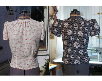 1940s style round neck blouse made to order in any print or plain colour of your choice