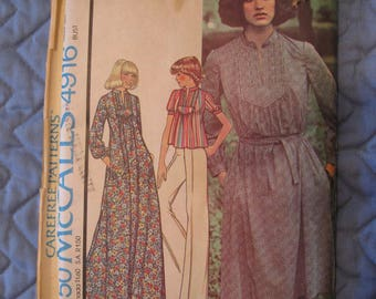 1976 McCall's 4916 Dress Top Pants Miss Size 14 Bust 36 Carefree Sewing Pattern