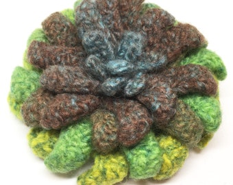 Felted Wool Flower brooch in shades of brown  green and yellow with a touch of blue