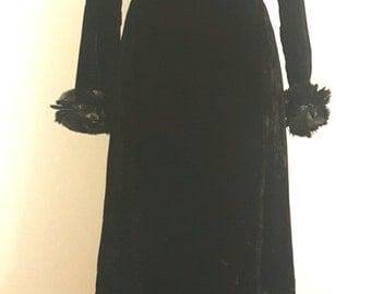 Vintage Early 1960s Paris Designer Philippe Venet Gown. Black Velvet. Feathers. Audrey Hepburn Look. Small