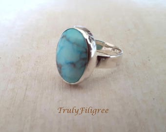 Howlite Turquoise Cabochon Ring,Turquoise Sterling Silver Ring,Handmade Silver Ring,Statement Ring,Gift for her,Howlite Ring,Size 11.