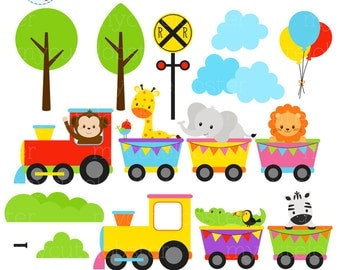 Animal Train Clipart Set - clip art set of animals, train, baby animal, train, safari - personal use, small commercial use, instant download