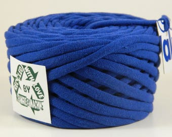 Recycled T-Shirt Yarn, Blue 29 Yards T Shirt Yarn, Bulky Tarn
