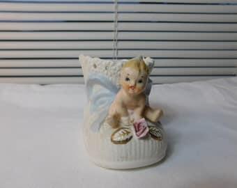 Vintage Napco Baby and Bootie Shoe Ceramic Planter C6387 Box C