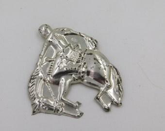 Vintage Stamped Metal Toy Bucking Bronco Cowboy Rodeo Rider Pin DR43