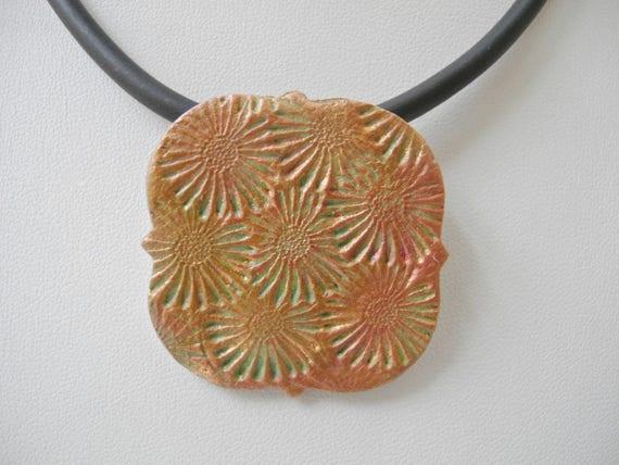 Textured ceramic pendant, pink gold copper, pottery pendant, ceramic necklace, Boho design, Boho pendant, stamped pottery pendant, patina