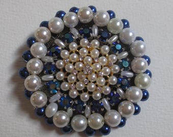 Statement Brooch Handmade Beaded Pearls Navy Blue Fabulous