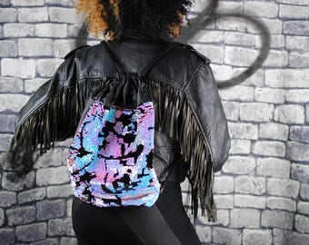 ELECTRALITE backpack, sparkly pink and blue sequins. black velour. Black eco-leather.