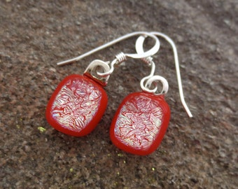 Red Glass Sterling Silver Earrings  Dichroic Dangle Fused Art Glass