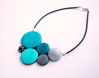 Turquoise Teal Gray Wooden Necklace