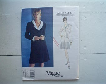 Vogue American Designer Pattern Anne Klein Suit Vogue 1530 Feminine Skirt and Jacket Vintage Sewing Pattern