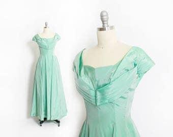 Vintage 1950s Dress - EMMA DOMB Sea Foam Green Full Skirt Sharkskin Taffeta Full Length Gown Party Prom - Small