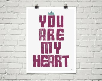 You Are My Heart 18x24 Art Poster Giclee Magenta White Lisa Weedn