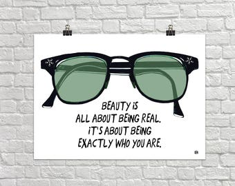Real Beauty 18x24 Landscape Art Poster Giclee Typography Eyeglasses Glasses Exactly Who You Are Lisa Weedn