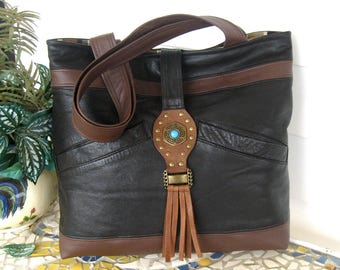 Recycled Leather Handbag Tote with Fringe - Brown Upcycled Leather